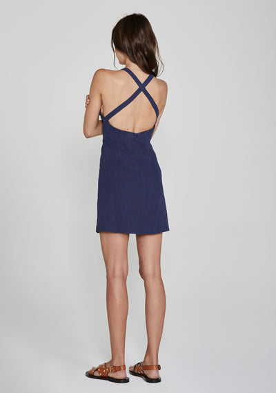Sunset Mini Dress Navy - Auguste The Label