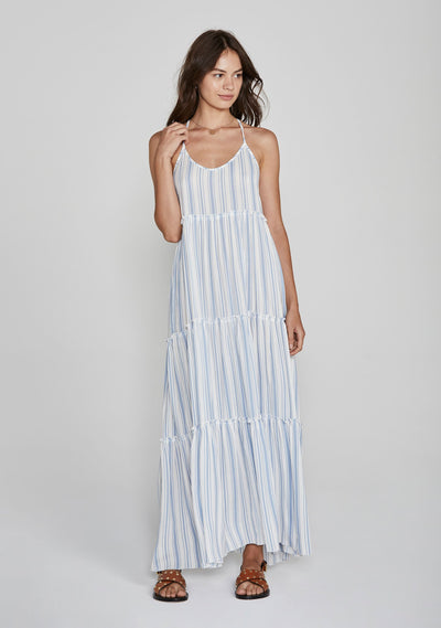 Riviera Fleur Maxi Dress Blue - Auguste The Label