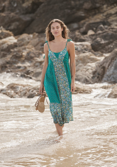 Palm Springs Dawn Midi Dress Emerald - Auguste The Label