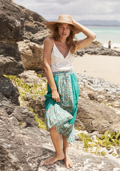Palm Springs Belle Midi Skirt Emerald - Auguste The Label