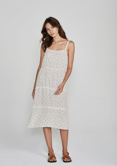 Jasmine Poolside Slip Midi Dress Cream - Auguste The Label