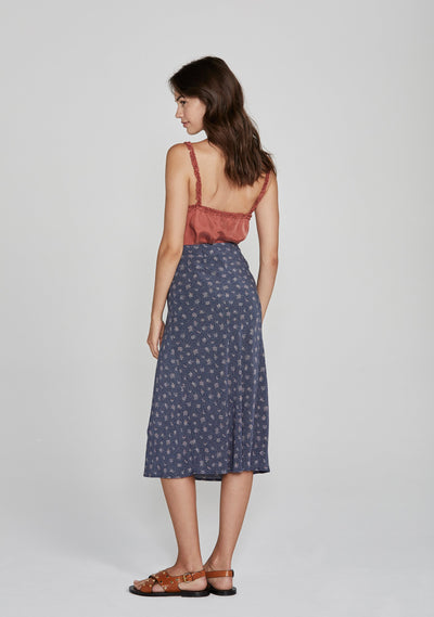 Jasmine Bias Slip Midi Skirt Navy - Auguste The Label