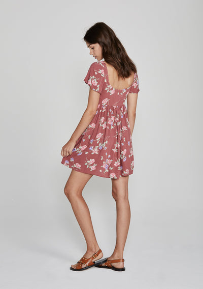 Rosa Belle Mini Dress Blush - Auguste The Label