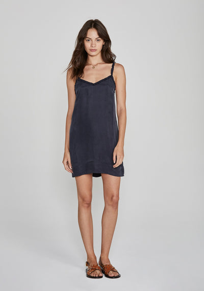 Honey Slip Mini Dress Navy - Auguste The Label