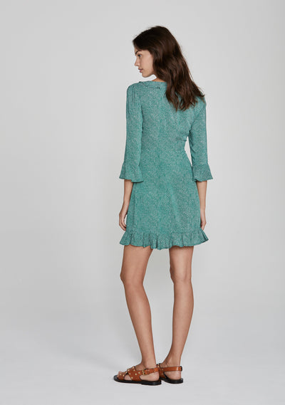 Diamond Rumba Sleeved Mini Dress Green - Auguste The Label