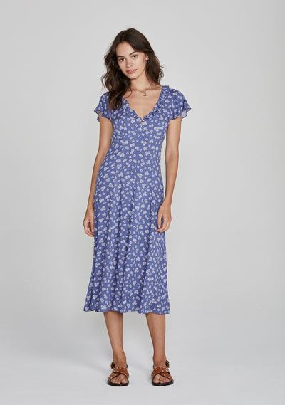 Mae Devine Midi Dress Blue - Auguste The Label