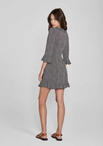 Diamond Rumba Sleeved Mini Dress Black - Auguste The Label
