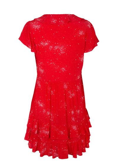 Celestial Grace Frill Sleeve Mini Dress Red - Auguste The Label