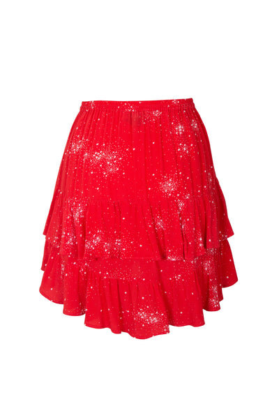 Celestial Grace Mini Skirt Red - Auguste The Label