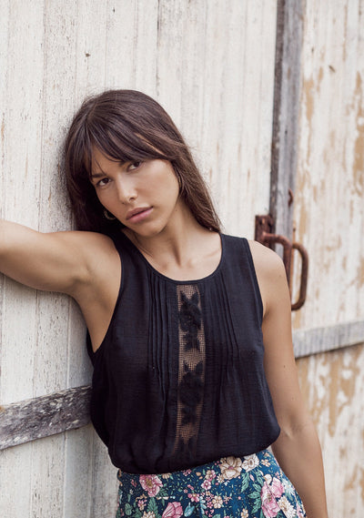 Paris Lattice Lace Cami Black - Auguste The Label