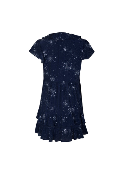 Celestial Grace Frill Sleeve Mini Dress Midnight - Auguste The Label