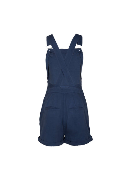 Zoey Embroidered Short Overalls Navy - Auguste The Label