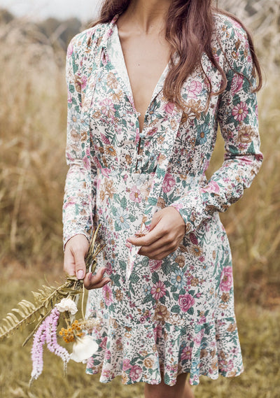 Spring Rose Wylde Long Sleeve Mini Dress Natural - Auguste The Label