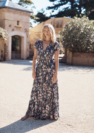 Spring Rose Wylde Maxi Dress Navy - Auguste The Label