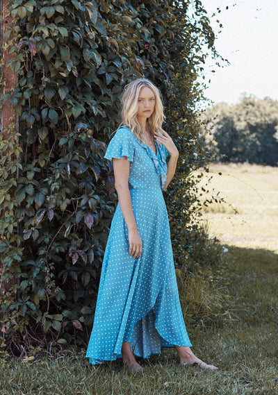 Polly Frill Neck Wrap Maxi Dress Blue - Auguste The Label
