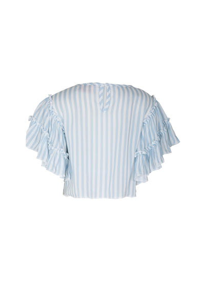 Stripe Frill Sleeve Crop Top Blue - Little Auguste - Auguste The Label