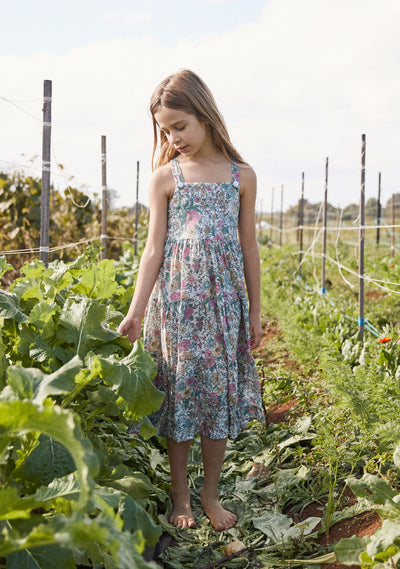 Spring Rose Sugar Plum Midi Dress Natural - Little Auguste - Auguste The Label