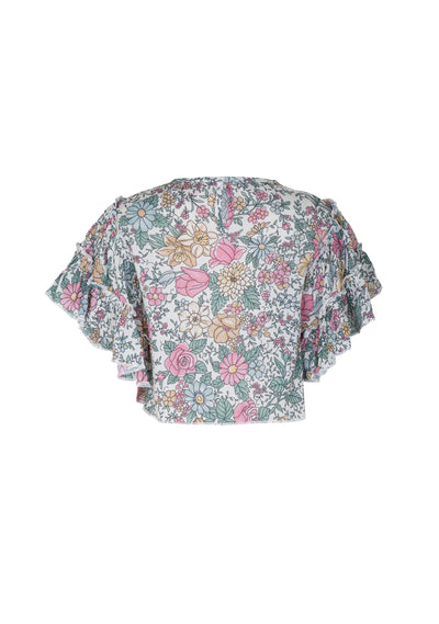 Spring Rose Frill Sleeve Crop Top Natural - Little Auguste - Auguste The Label