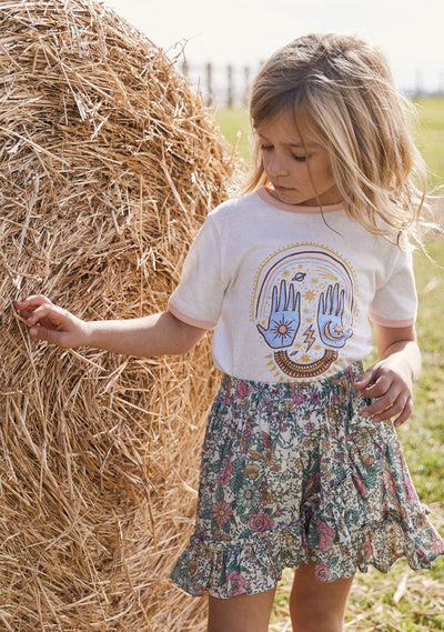 Cosmic Palms Ringer Tee Natural - Little Auguste - Auguste The Label