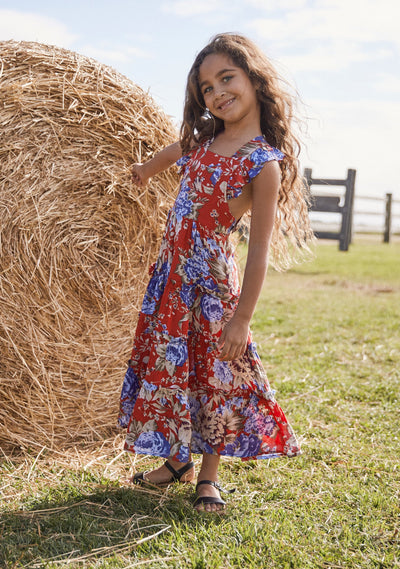 Pinafore Maxi Dress Fire Engine Texan Blooms - Little Auguste - Auguste The Label