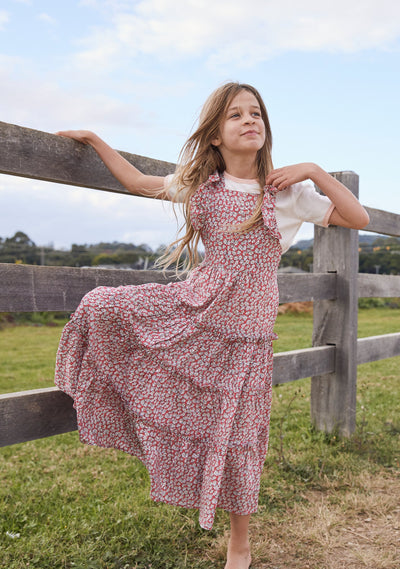 Pinafore Maxi Dress Pink Daisy Floral - Little Auguste - Auguste The Label