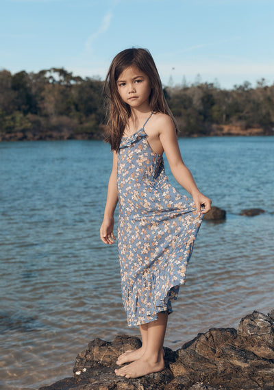 Matilda Honey Midi Dress Blue - Little Auguste - Auguste The Label