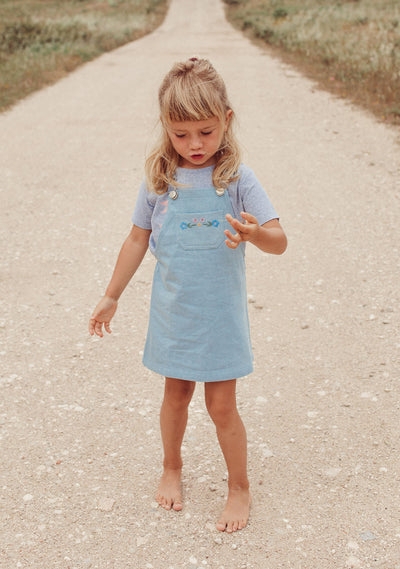 Twiggy Embroidered Pinafore Light Blue - Little Auguste