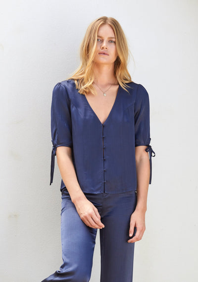 Midnight Luxe Blouse Navy Blue - Auguste The Label