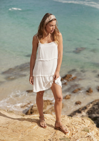 Poolside Slip Mini Dress White - Auguste The Label