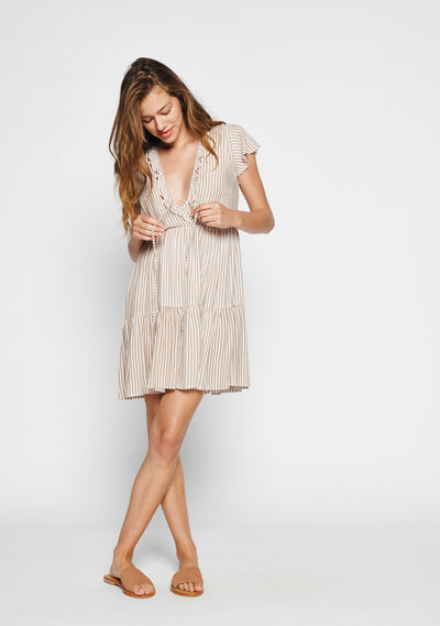Matilda Babydoll Dress Almond Stripe - Auguste The Label