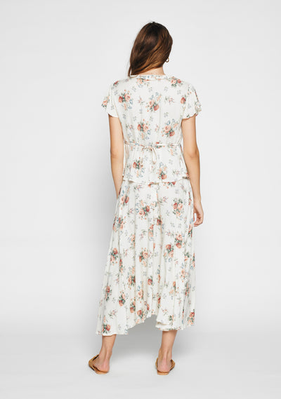 Rose Fleur Wrap Midi Skirt White - Auguste The Label