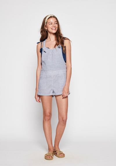 Sunset Overalls Navy Stripe - Auguste the Label