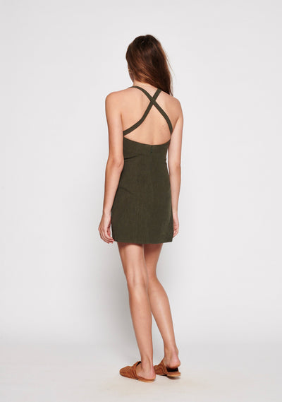 Sunset Mini Dress Khaki - Auguste The Label