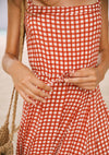 Gingham Panelled Maxi Dress Rust - Auguste The Label