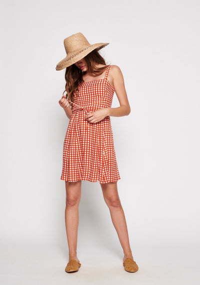 Gingham Panelled Mini Dress Rust - Auguste The Label