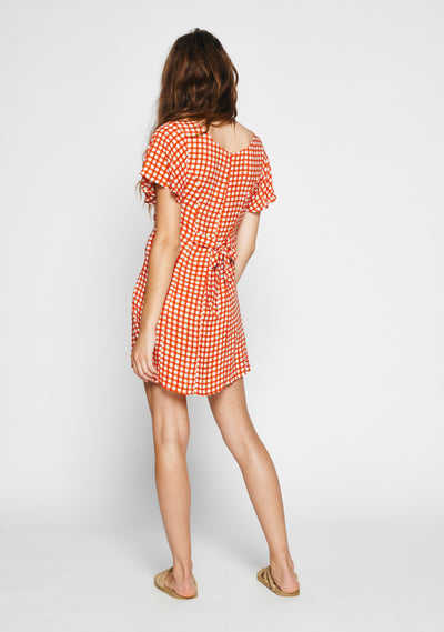 Gingham Sophia Mini Dress Rust - Auguste The Label
