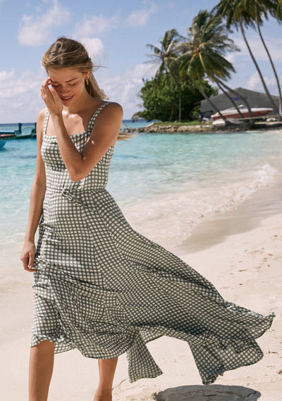 Gingham Panelled Maxi Dress Khaki - Auguste The Label
