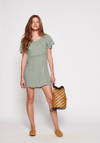 Gingham Sophia Mini Dress Khaki - Auguste The Label