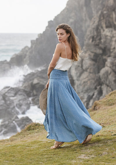 Penelope Shirred Waist Maxi Skirt Blue - Auguste The Label