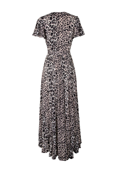 Wild Leopard Muse Maxi Wrap Dress Natural - Auguste The Label