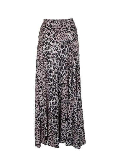 Wild Leopard Shirred Waist Maxi Skirt Natural - Auguste The Label