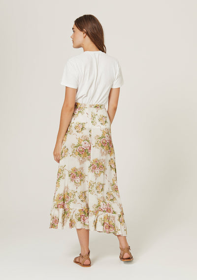 Bonnie Cascade Wrap Skirt Off White - Auguste The Label