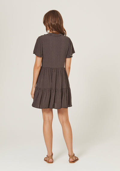 Pippi Matilda Babydoll Mini Dress Charcoal - Auguste The Label