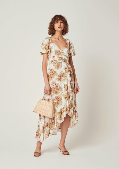 Bonnie Juliette Cascade Midi Dress Off White - Auguste The Label