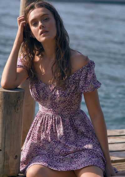 Gemima Bonne Mini Dress Purple - Auguste The Label