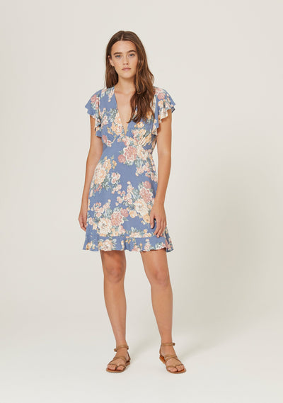 Cottage Sunday Mini Dress Blue - Auguste The Label