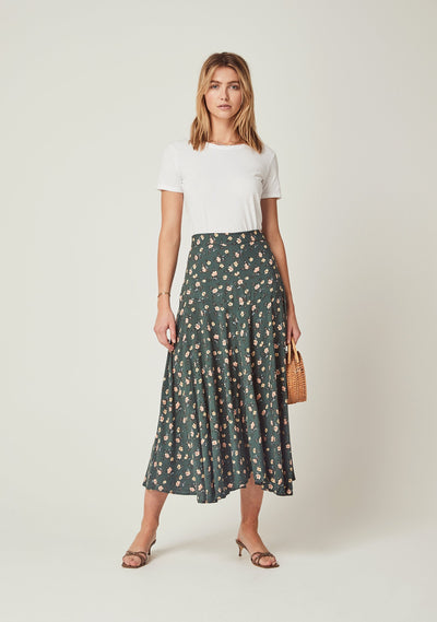 Eloise Rae Midi Skirt Khaki - Auguste The Label