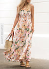 Fae Lover Shirred Maxi Dress Apricot - Auguste The Label