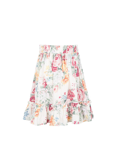 Reverie Frill Hem Mini Skirt Off White - Auguste The Label