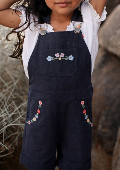 Twiggy Embroidered Overalls Navy - Little Auguste